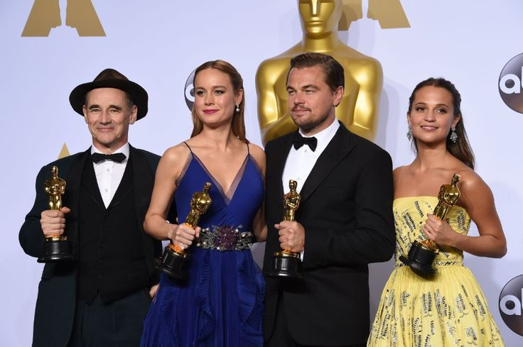 2016 Oscar Winners backstage in the Oscar Press Room: Mark Rylance, Best Supporting Actor for the 'Bridge of Spies', Brie Larson, Best Actress for 'Room', Leonardo DiCaprio, Best Actor for 'The Revenant' and Alicia Vikander, Best Supporting Actress for 'The Danish Girl'. Photo: Getty.