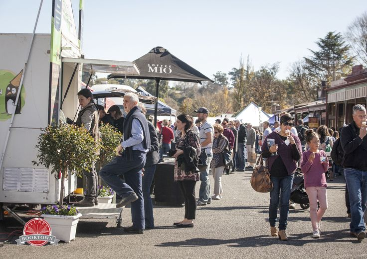 Food and drink vendors are kept busy each autumn at the Clunes Booktown Festival in the historic township of Clunes, country Victoria, Australia.