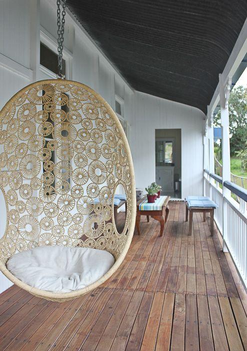 East Ipswich Queenslander | Walk Among The Homes Verandah on a Queenslander home with hanging pod chair