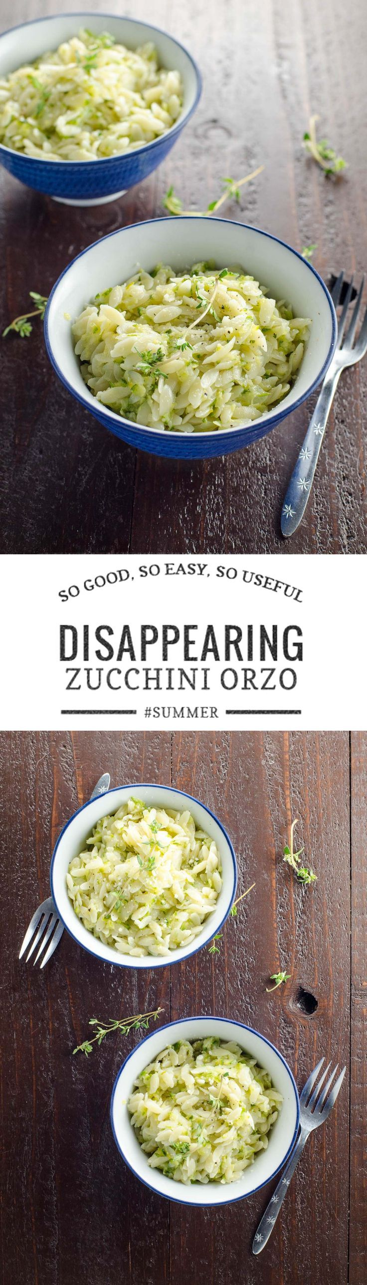 Camille Kingsolver's Disappearing Zucchini Orzo, adapted from Barbara Kingsolver's Animal, Vegetable Miracle, is a crowd-pleasing way to use up tons of zucchini in a flash. via @umamigirl