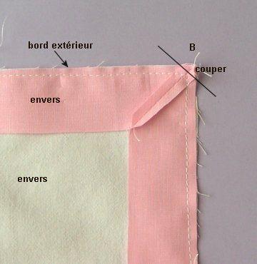 Coupe Couture : Coins en onglet sur l'endroit seulement