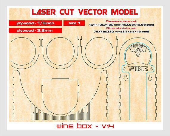 Grazie per aver visitato il nostro negozio. Per la vendita è contenitore di vino (solo per il modello Laser taglio vettoriale). Insieme dei reticoli 1: creare modelli di compensato 3,2 mm (1/8) Prodotto digitale include AI, EPS, CDR, SVG, file DFX. Vino scatola v14 Dimensione esterna: 104 x 100 x 430 mm (4x3.93x16, 93 pollici) Dimensioni interne: 78 x 78 x 330 millimetri (3.1x3.1x13 pollici) ___DESIGNS___ Scatola di legno compensato hanno un design unico. ___Attention!!! _____ Pre...