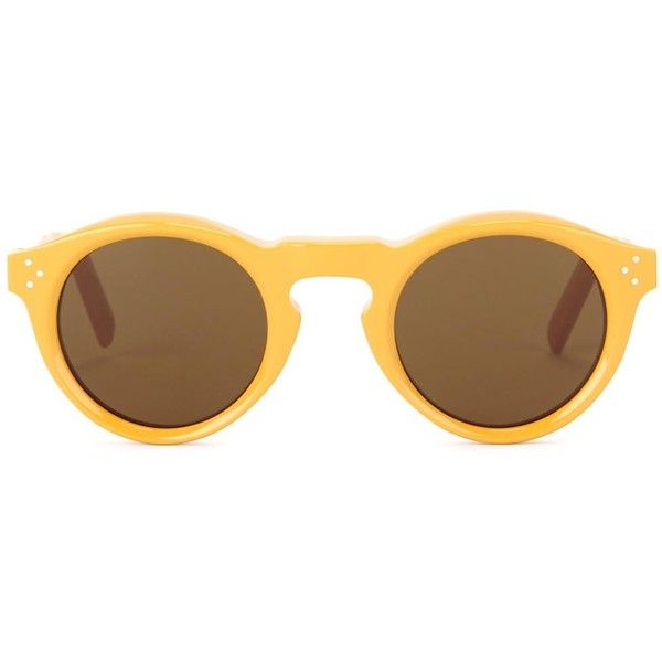 Céline Bevel mustard round-frame sunglasses found on Polyvore featuring accessories, eyewear, sunglasses, acetate sunglasses, round acetate sunglasses, uv protection sunglasses, brown lens sunglasses and round frame glasses