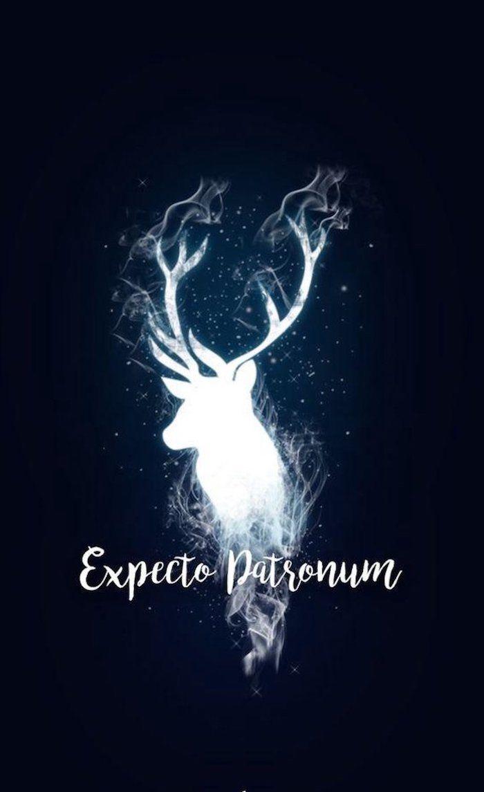 Harry Potter Desktop Background Expecto Patronum Stag Patronus On Dark Blue Background In 2020 Harry Potter Background Harry Potter Wallpaper Harry Potter Images