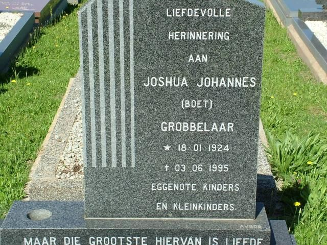 GROBBELAAR Joshua Johannes 1924-1995 Western Cape, BREDASDORP, new cemetery