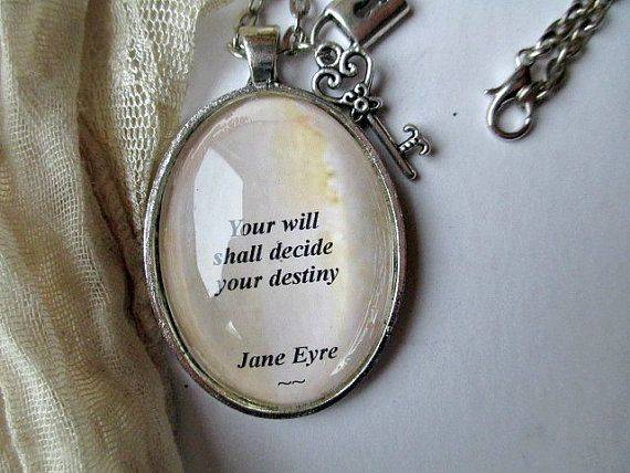 Jane Eyre quote necklace Charlotte Bronte quote by WhimsyJig