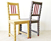 Cool Idea...use the string glue paint instead...White Accent Chair, Home Office Chair, Upcycled Furniture, Crochet Home Decor, Eco-Friendly Fiber Art by Knits for Life. $500.00, via Etsy.