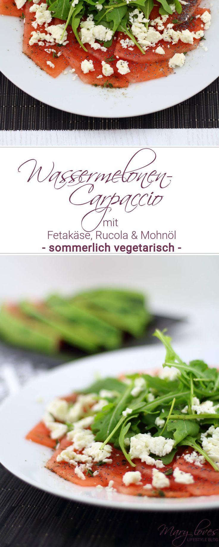 Wassermelonen-Carpaccio mit Fetakäse, Rucola und Mohnöl als sommerliche vegetarische Vorspeise - Rezept für eine Sommer-Vorspeise mit Wassermelone
