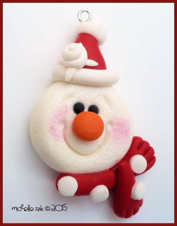 Polymer Clay Winter Snowman Charm in red and white