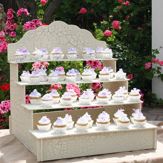 Beautiful. Shabby chic cupcake stand. Could even get one for displaying wedding favors. Cupcake Display Stand by WeddingDecorDesigns on Etsy, $98.00
