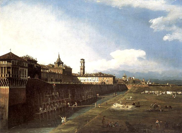 "Bernardo Bellotto   ""View of Turin"" near the Royal Palace 1745 Oil on canvas, 129,5 x 174 cm Galleria Sabauda, Turin."