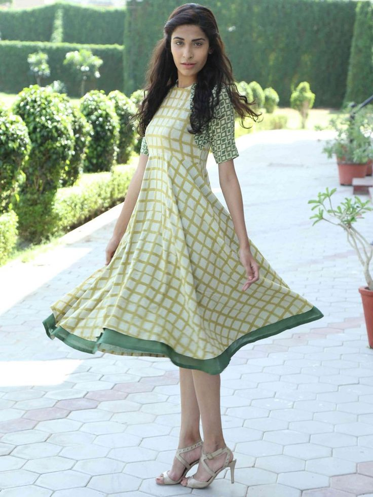 Mustard Hand Block Printed Monga Silk Dress