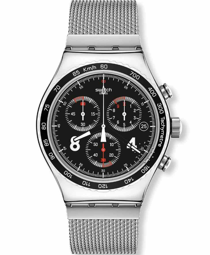 SWATCH Irony Chrono Blackie Stainless Steel Bracelet Μοντέλο: YVS401G Τιμή: 140€ http://www.oroloi.gr/product_info.php?products_id=33910