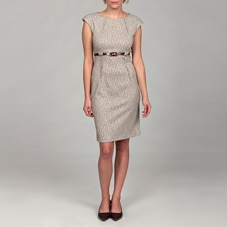 Connected Apparel Women's Taupe Jacquard Belted Dress