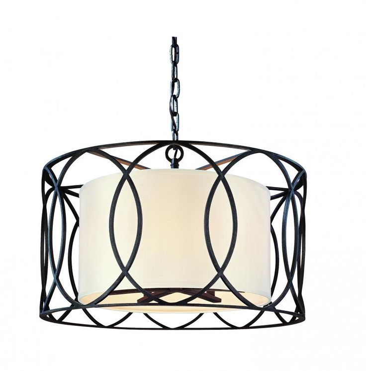 "Brechers Lighting   16.50"" Tall x 25.00"" Wide Five Light Bronze Drum Shade Pendant, Sausalito, Gold - Silver Gold $652.00"