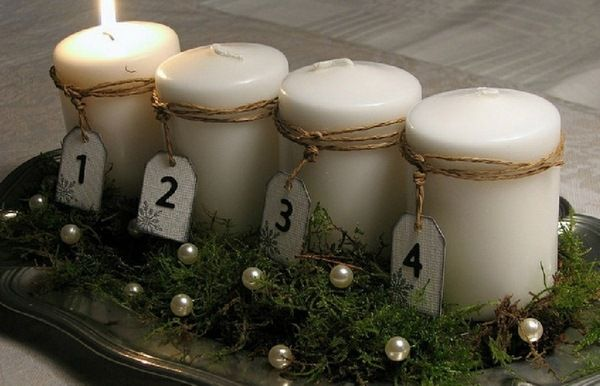 natural material moss yarn beading numbers idea modern advent wreath