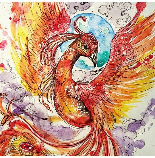 Pretty feminine phoenix ... great for  tattoo