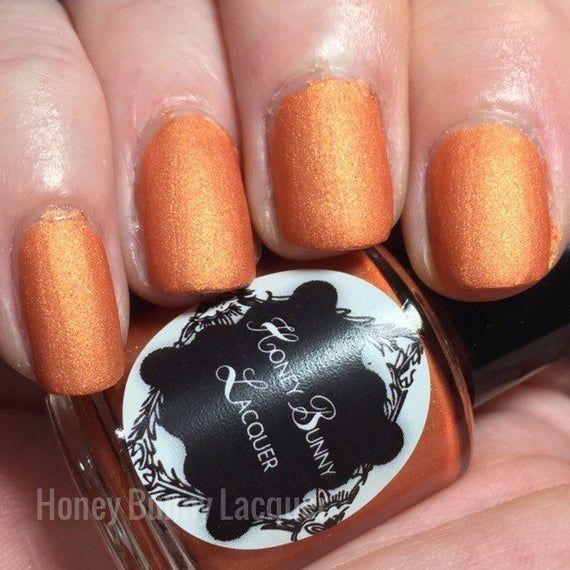 Good Vibrations – matte nail polish – matte orange polish – 5 free – handmade – …
