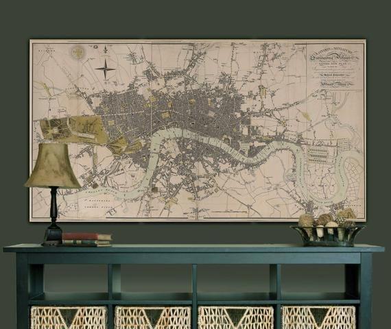 London England Map Print Large Vintage Historic Old 1807 Etsy Vintage Map Decor England Map Map Decor