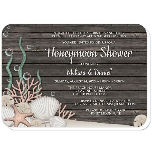 Beach Honeymoon Shower invitations with a rustic 'under the sea' theme, with a dark wood pattern, sandy seabed, assorted seashells, coral, and kelp.