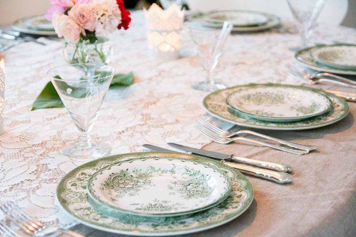 middag grønt servise #borddekking #vintage #table setting