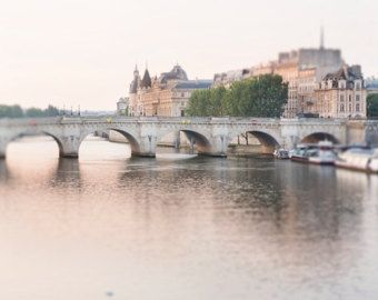 Parijs fotografie  mistige ochtend Pont van GeorgiannaLane op Etsy