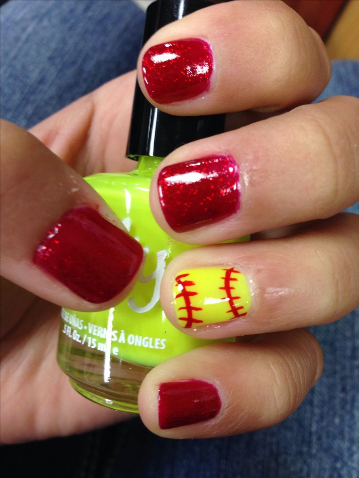 Nails for softball season - change the main color to purple and leave the softball..