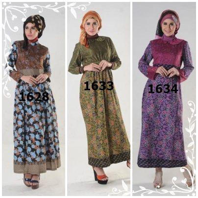 Aneka gamis batik kombinasi brukat degan pilihan warna dan desain atraktif, Modis, Cantik dan Simple.