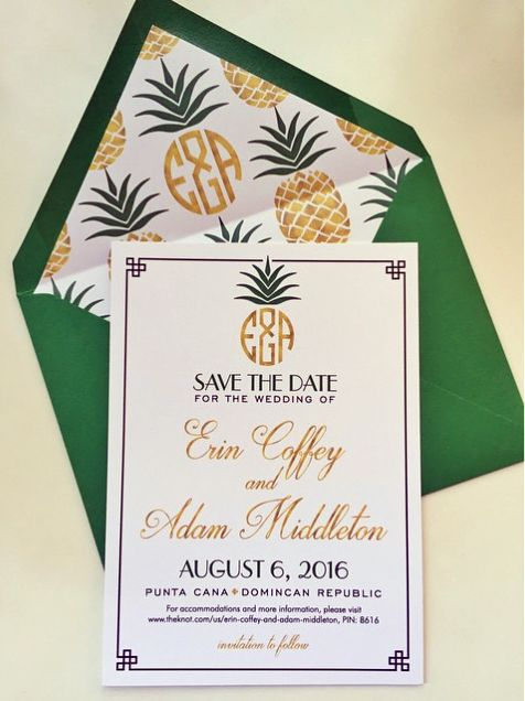 Tropical glam save the date for a #DestinationWedding featuring the couple's custom pineapple inspired wedding monogram I Custom by Nico and Lala