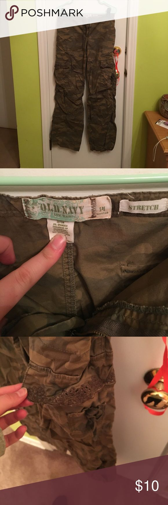 Camo Cargo Pants Traditional camo cargo shorts from old navy. Excellent condition- only worn once or twice. Has feminine ribbons and lace on the side pockets. Great for camping or hiking Old Navy Pants