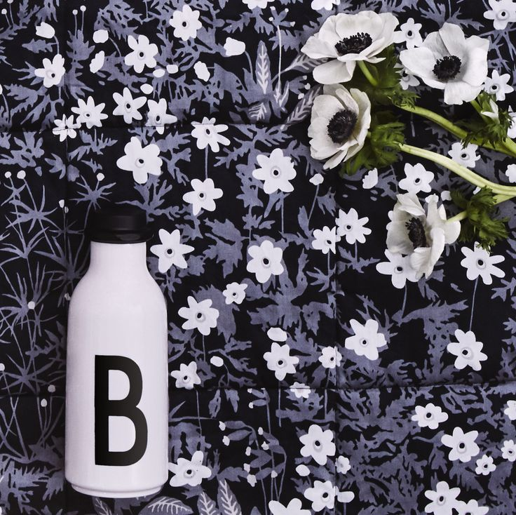 B for bottle. Remember to bring water when going on the first spring picnic. Typography: AJ Vintage ABC. Pattern Flower blanket: Flowers by AJ.
