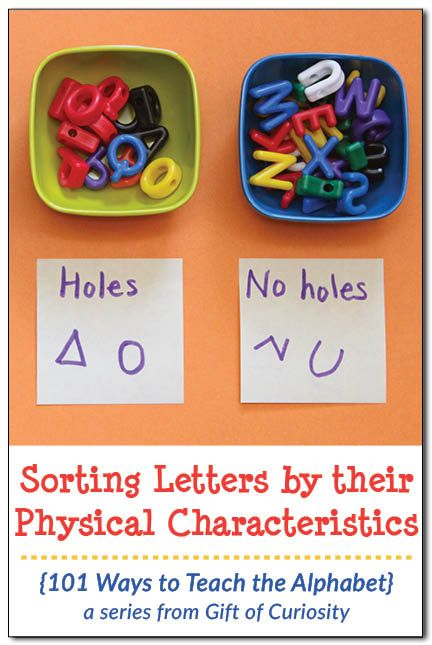 Sorting letters by their physical characteristics is a great way for young learners to attend to the shapes of letters {101 Ways to Teach the Alphabet} || Gift of Curiosity