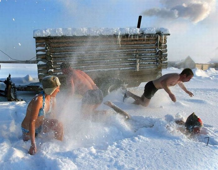 roll in the snow after sauna..now that's fun!