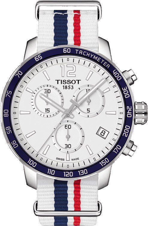 Tissot Quickster Chronograph Nato w/ 10.72mm deep case (42mm wide), navy bezel, white face, white cloth band (striped in R&B)