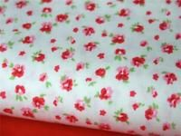 Red small rose FLORAL vintage country 100% COTTON FABRIC for dress craft bunting
