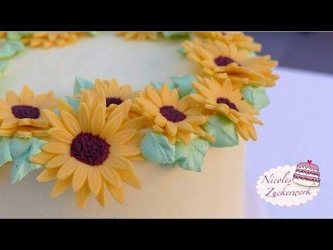 Sonnenblume aus Fondant   Tutorial von Nicoles Zuckerwerk   How to make ...