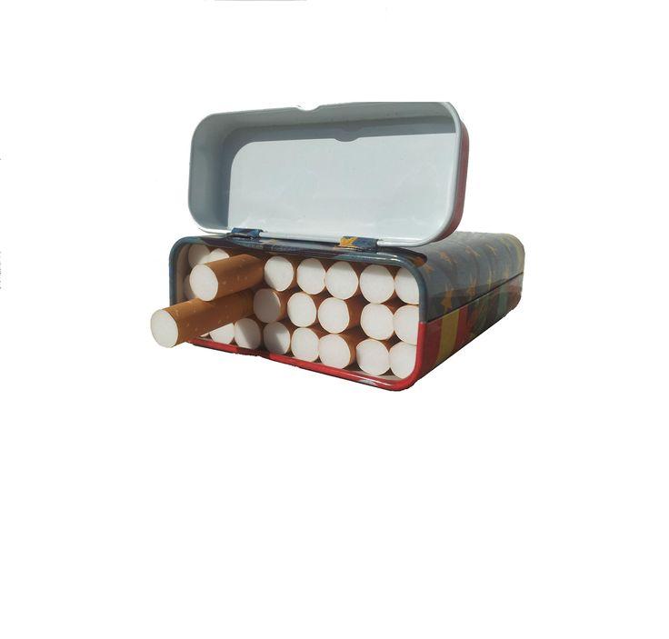 Tabachere ieftine stil pachet tigari, metal, capacitate ~24 tigari
