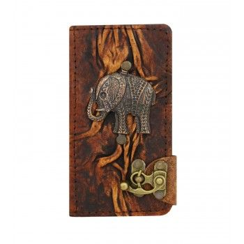 Elephant Pendant Samsung Galaxy S7 Phone Case Cover Real Vintage Genuine Leather Wallet Hard Cover Card Holder Side Flip Cases