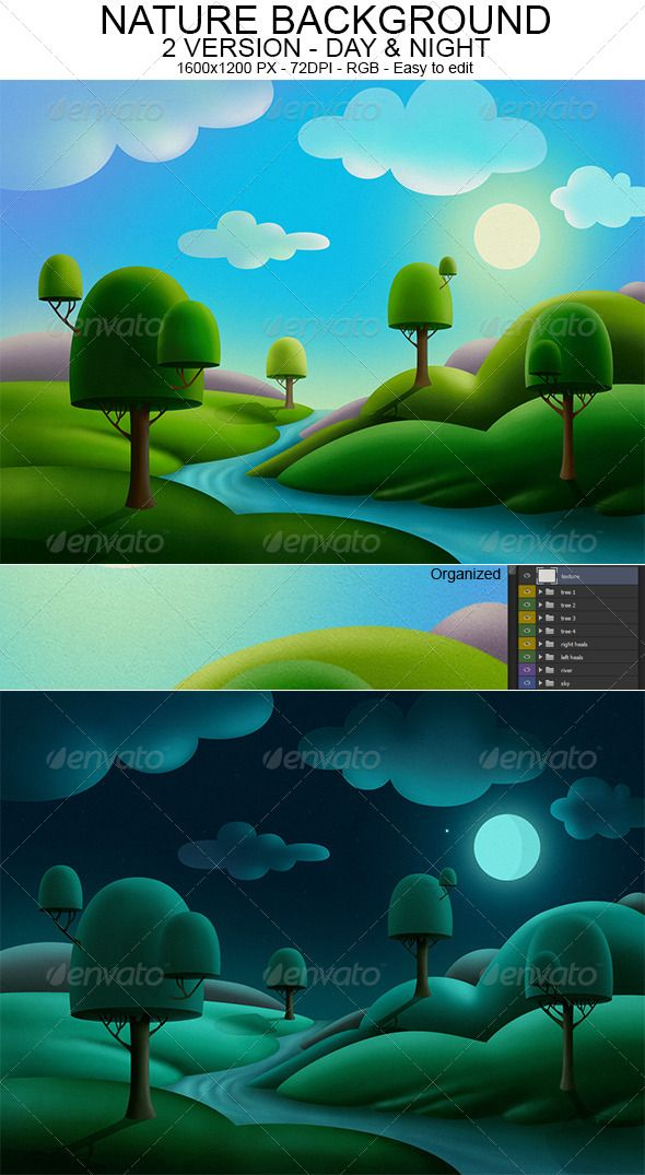 Nature Background  in 2 version: Day & Night is my last work. If you like it you can buy from here: http://graphicriver.net/user/DenisBors/portfolio?ref=DenisBors