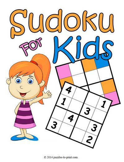 Sudoku for Kids http://www.puzzles-to-print.com/printable-sudokus/sudokus-for-kids.shtml Free sudoku puzzles made just for kids. Different types available: colors, letters and numbers. Solutions are included.