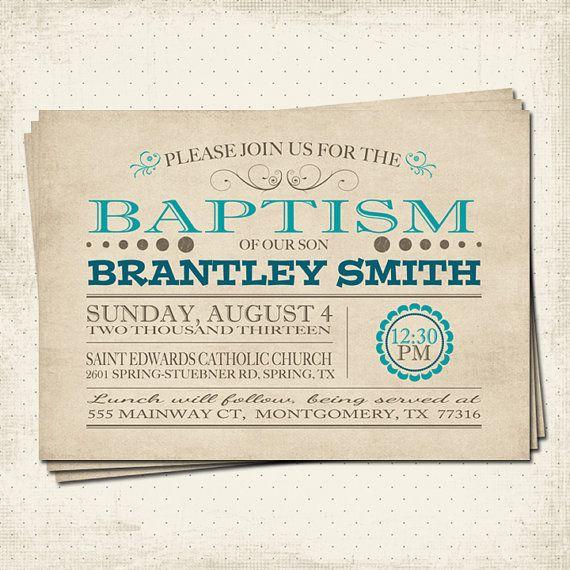 Printable 5x7 Baptism Invitation by KristisKreativDesign on Etsy, $8.00