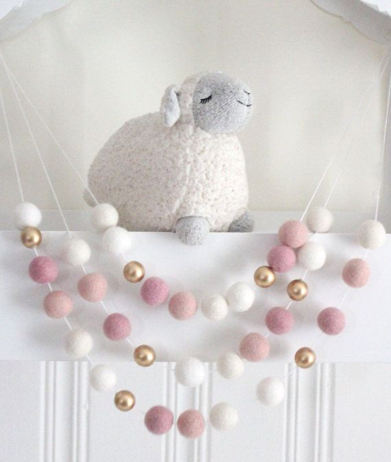 Pink and Gold Felt Ball Garland Pink Nursery by SheepFarmFelt