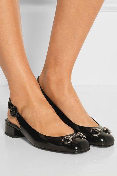 Gucci | Horsebit-detailed polished-leather slingback flats | NET-A-PORTER.COM