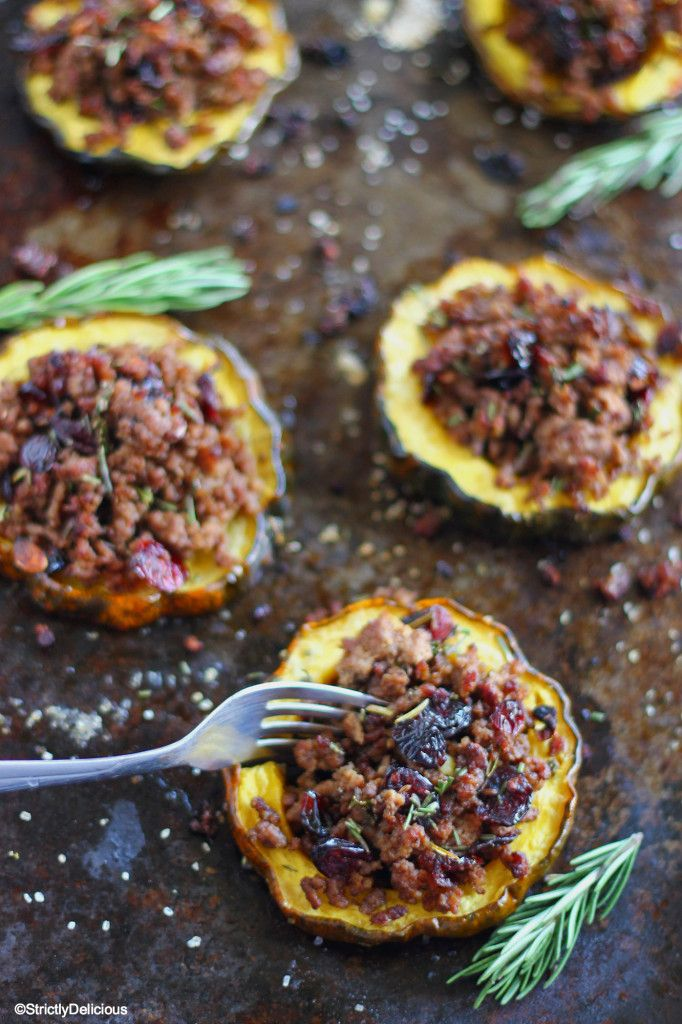 Cranberry & Beef Stuffed Acorn Squash via StrictlyDelicious - Christmas Stuffed Acorn Squash