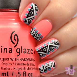 Aztec nails. Peach, China Glaze. Nail Art. Nail Design. Polishes. Polish. Polished.