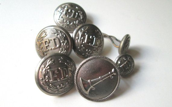 Vintage Fire Department Buttons 7 1940s.  by heartseasevintage, $25.00