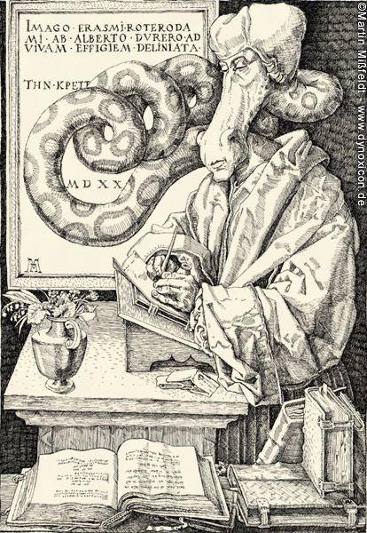 Albrecht Dürer Cartoons von Martin Mißfeldt - Erasmus von Rotterdam