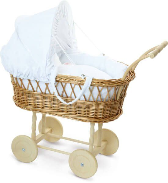 Petitcollin Doll - Wicker Pram and Doll Moses Basket. This gorgeous french dolls pram was made by the very own toy dolls prams our grandmothers used to own. Designed to impress, this Wicker Pram and Moses Basket for Petitcollin Dolls has stylish natural-tone wheels, handles as well as a soft cozy cushion. Watch as your little child falls in love taking a stroll with this Wicker Pram and Moses Basket.
