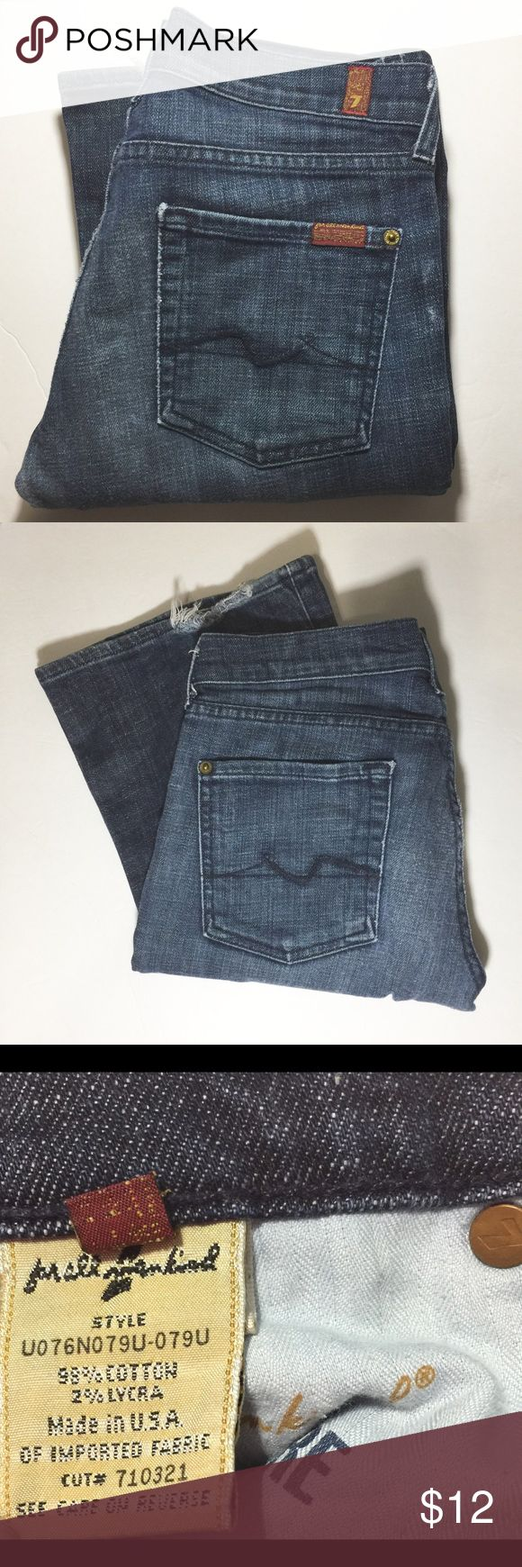 """7 FOR ALL MANKIND FLARE BROADWAY STRETCH JEANS Good used condition. Price reflects. Inseam is 33"""". Rise is 8"""". Wear on bottoms, see pic. 7 For All Mankind Jeans Flare & Wide Leg"""