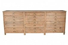 Old pine chest of 12 map drawers